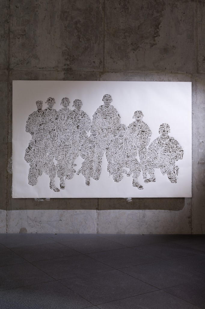 Olivier Hölzl, Point of Impact, Paper cutout (200g), 135x200cm, 2011 Courtesy of the artist, Photograph by: Andreas Nader