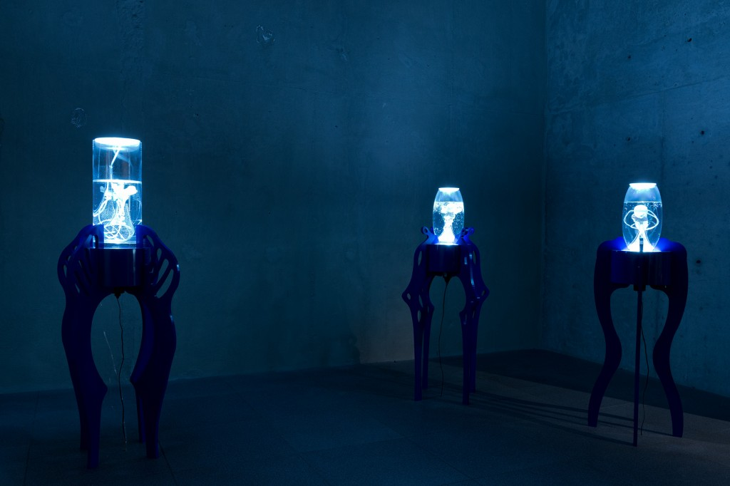 Pınar Yoldaş Remembering the Future: Chronos Multimedia Sculpture Polymer clay, silicone, air pumps, hand made glass vessels, corian top, LED lighting, mixed material pedestal 150 cm x 70cm x 40cm 2014 Courtesy of the artist Photograph by: Andreas Nader