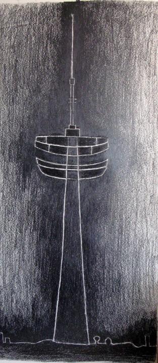 m__r__vvet t__rky__lmaz, radyo kulesi, ka____t __zerine grafit, 160x70cm, 2006-07